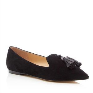 Ivanka Trump Black Harley Tassel Pointed Toe Flat Loafers Size 8.5 Classic Shoes